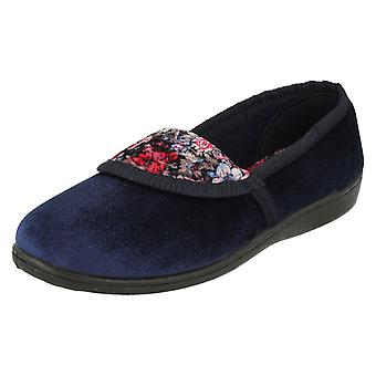 Ladies Spot On Quality Slippers Floral Pattern Slippers LS40