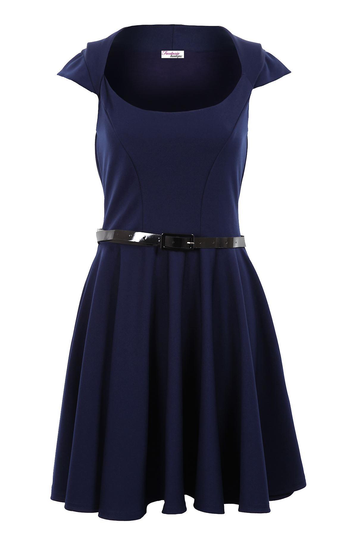 Ladies Cap Sleeve Belted Skater Flare Wine Red Nude Black Navy Blue Womens Dress