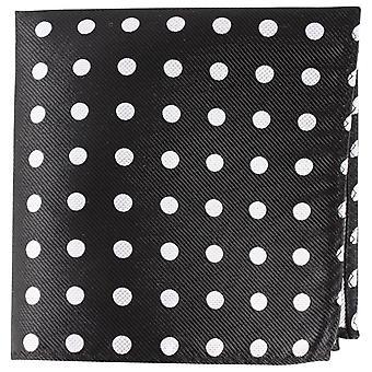 Knightsbridge cravates Polka Dot soie mouchoir de poche - noir/argent