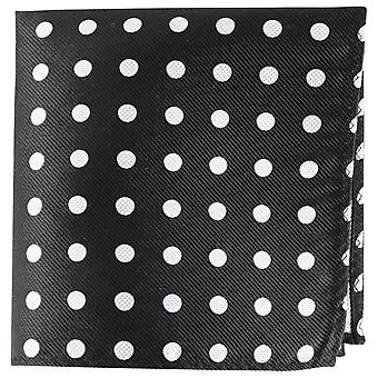 Knightsbridge Neckwear Polka Dot seda lenço de bolso - preto/prata