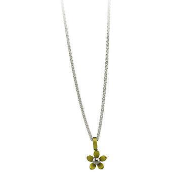 Ti2 Titanium Small Five Petal Flower Pendant - Lemon Yellow