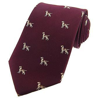 David Van Hagen puntatore cani tessuto cravatta di seta di paese - vino