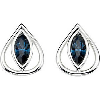 Éléments des yeux ovales argent crochet boucles d'oreilles - argent/bleu