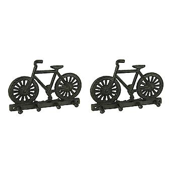 Rustic Brown Cast Iron Bicycle Key Holder Wall Hanging Set of 2