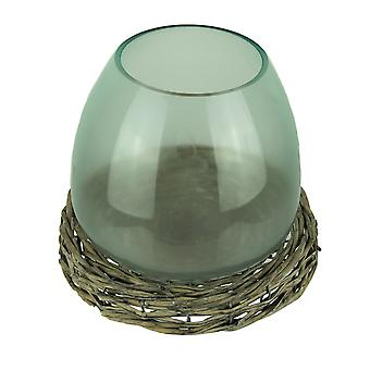 8 Inch Diameter Glass Terrarium Vase With Wicker Base