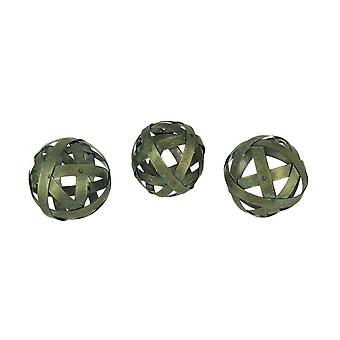 Distressed Bronze Finish Metal Bands Decor Balls Set of 3