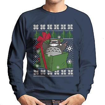 Totoro In A Box Studio Ghibli Christmas Knit Pattern Men's Sweatshirt