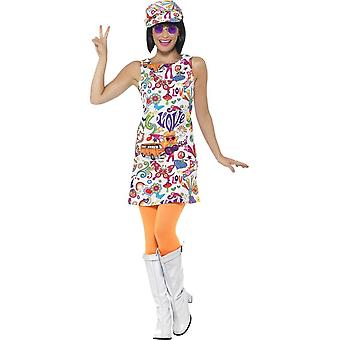 60's Groovy Chick Costume, Multi-Coloured, with Dress & Hat