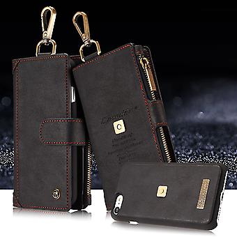 CASEME iPhone 7/8/SE 2020 Retro läder plånboksfodral - Svart