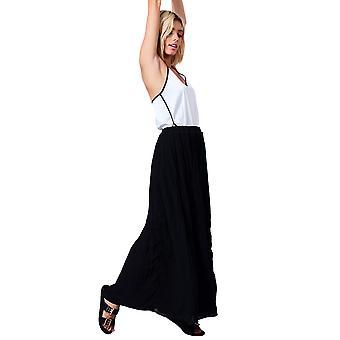 Lovemystyle Black Pleated Maxi Skirt With Chiffon Overlay