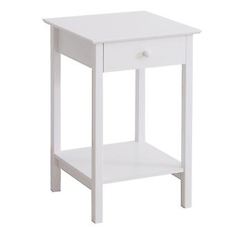 HOMCOM Wooden Bedside Table Cabinet W/ Drawer Shelf Storage End Side White Multipurpose Bedroom Night Stand