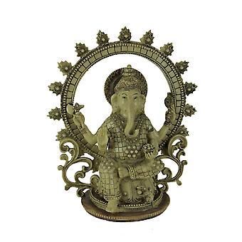 Lord Ganesha Sitting Holding Sacred Objects Statue