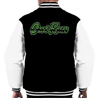 OutRun Retro 80 grön monokrom logotyp mäns Varsity jacka