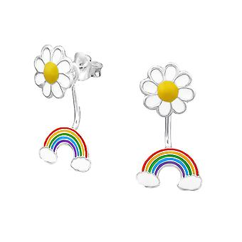 Sterling Silver Daisy and Rainbow Stud Earrings