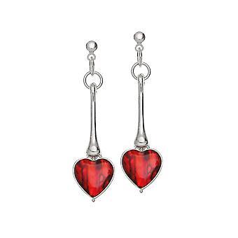 Evig samling Keepsake rød Paua Shell sølv tone drop Pierced øreringe