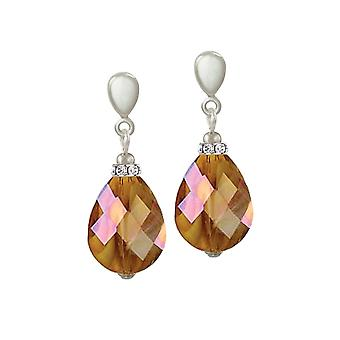 Ewige Sammlung Infinity Amber AB marmoriert Glas Silberfarbe Drop Clip auf Ohrringe