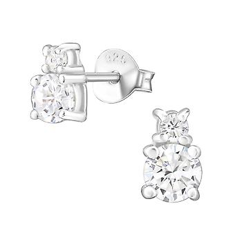Runde - 925 Sterling sølv Cubic Zirconia øret knopper - W26010x
