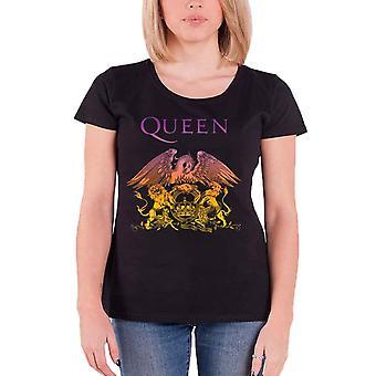 La reine T Shirt Gradient Crest bande Logo nouveau officiel Womens Skinny Fit noir