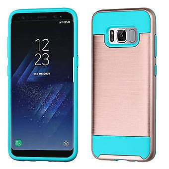 ASMYNA Rose Gold/Tropical Teal Brushed Hybrid Case for Galaxy S8 Plus