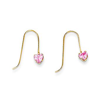 14k Yellow Gold Polished Shepherd hook Pink CZ Cubic Zirconia Simulated Diamond Love Heart Long Drop Dangle Earrings Jew