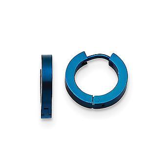 Stainless Steel Brushed Blue IP-plated Blue Hinged Hoop Earrings