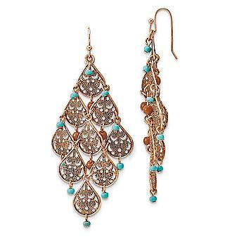 Pastor gancho cobre tono Aqua y brown perlas filigree Dangle Candelier pendientes joyería regalos para las mujeres