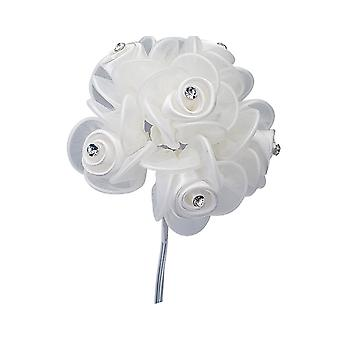 6 Small Satin Organza Roses with Diamante for Floristry Crafts - White