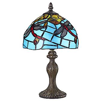 Hand Crafted Blue Stained Glass Dragonfly Tiffany Lamp