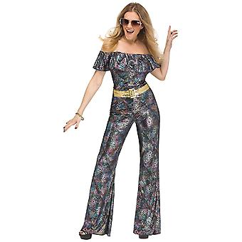 Disco Queen 1960s 1970s Retro Dancing Queen Glitter Jumpsuit Womens Costume