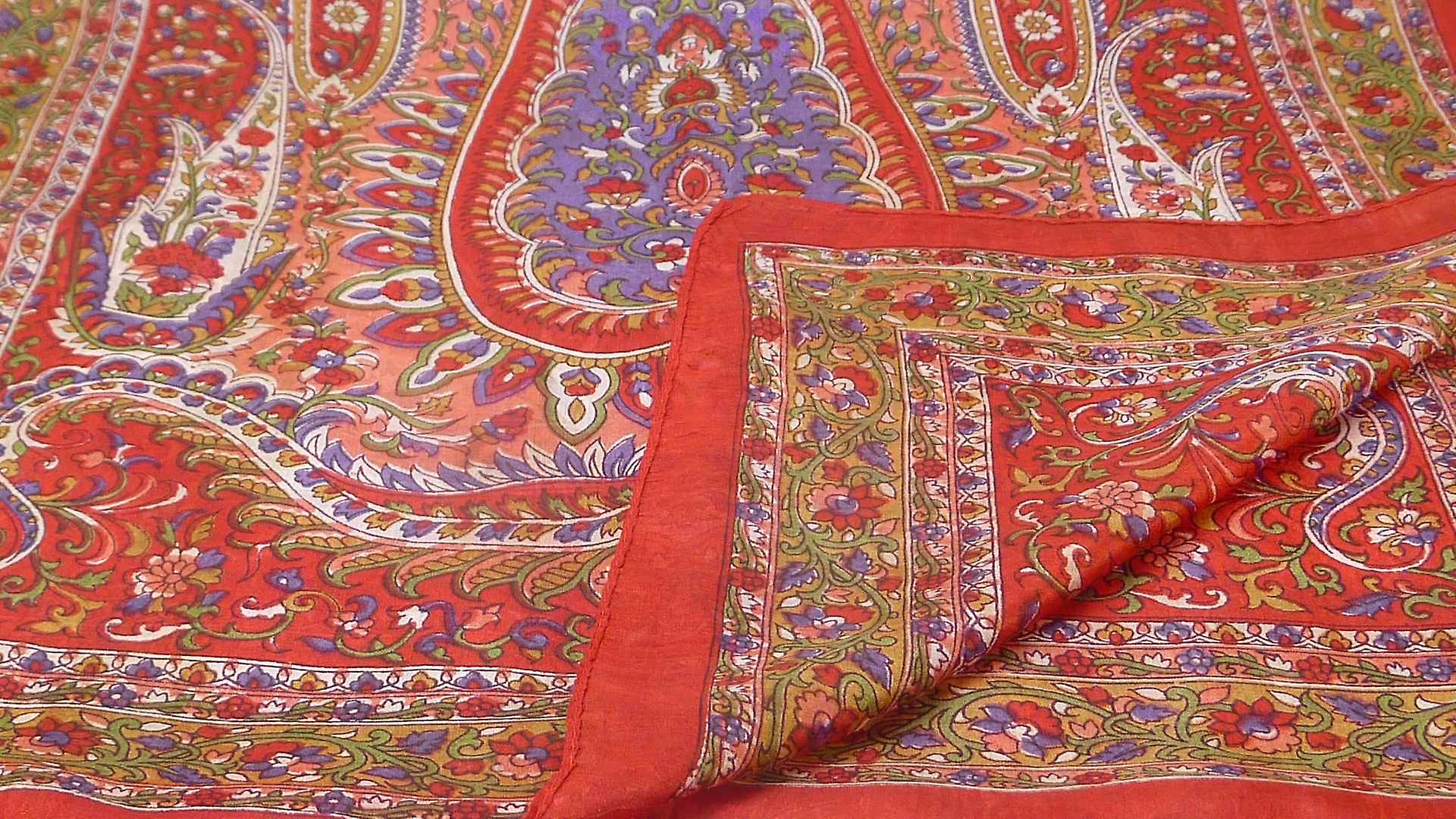 Mulberry Silk Traditional Long Scarf Amrindar Scarlet by Pashmina & Silk
