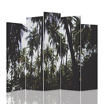 Divisor de habitación decorativa, 5 paneles, doble cara, lienzo, Palma 3