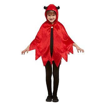 Childrens Halloween duivel Hooded Cape (one size)