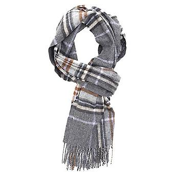 Joshua Ellis Auckland Check Escorial Wool Scarf - Charcoal/Oatmeal/Baby Blue