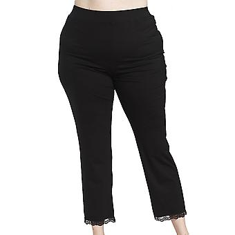 Rösch 1194585-11741 Women's Curve Jet Black Lace Pyjama Pant