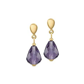 Eternal Collection Sophistication Amethyst Crystal Gold Tone Drop Pierced Earrings
