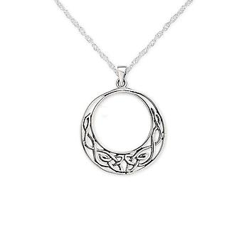 "Celtic Eternity Knotwork Round Shaped Necklace Pendant Large - Includes A 22"" Silver Chain"