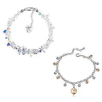 2 women bracelets with swarovski crystal. rhodium plated. by 2splendid. gift box included. bbqz003