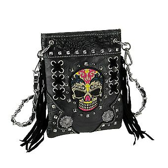 Colorful Embroidered Tribal Skull Fringed Mini Cross Body Purse