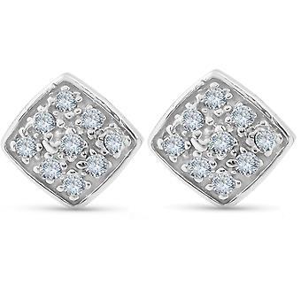 1/3ct pave Stud pute Halo diamant pute form øredobber 10K hvitt gull