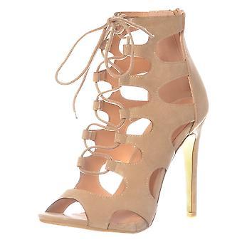 Onlineshoe Lace Up High Heel Peep Toe Shoe - Stiletto Heel