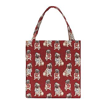 Mopshond shopper kruisje tas door signare tapijt/Guss-mopshond
