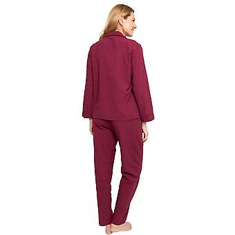 Cyberjammies 1350 vrouwen ' s Nora Rose Lydia Bourgondië rode Jacquard print katoen geweven pyjama's set