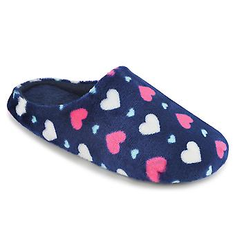 SlumberzzZ Womens amour coeur imprimé molleton Mule pantoufles