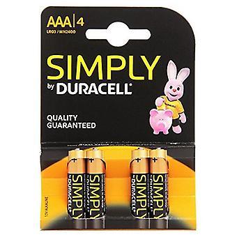 Alcaline batterie DURACELL semplicemente DURSIMLR3P4B LR03 AAA 1, 5V (4 pezzi)