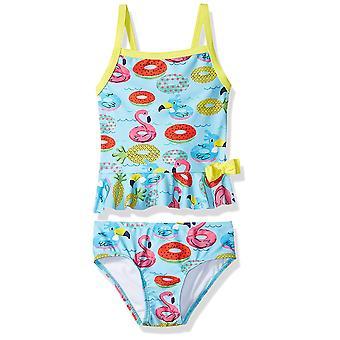 KIKO & MAX Toddler Girls' Tankini 2-Piece Swimsuit, Turquoise Floties, Size 3T