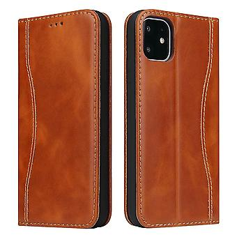 For iPhone 11 Case Brown Fierre Shann Genuine Cowhide Leather Wallet Flip Cover