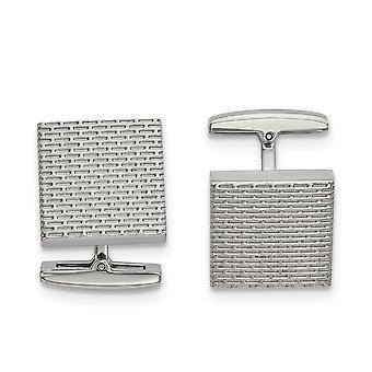 17mm Edelstahl poliert strukturierte Quadrat Manschette Nerz Links Schmuck Geschenke für Männer