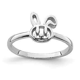 925 Sterling Silver Rhodium plated for boys or girls Bunny Ring - Ring Size: 3 to 4