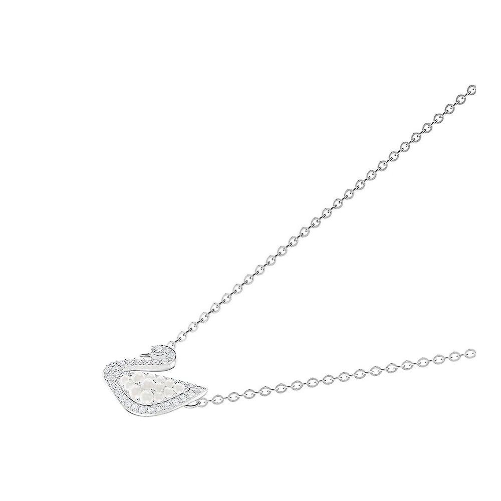 Swarovski Iconische Zwaan Rhodium verguld met clear crystal & pearl ketting 5416605