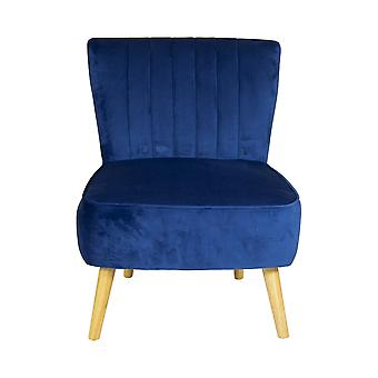 Charles Bentley Velvet Luxury Cocktail Occasion Scalloped Accent Lounge/Bedroom/Dressing Room Chair con patas de madera maciza en azul marino
